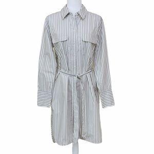 Equipment Femme Delaney Green Striped Shirt Dress